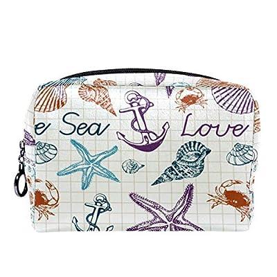 Reise-Make-up-Tasche Große Kosmetiktasche,Seestern Herzmuschel ,Make-up-Tasche Organizer für Frauen und Mädchen