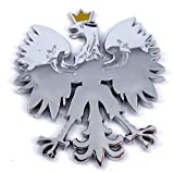 Poland 2.5' Polish Polski Eagle with Golden Crown Chrome 3D Emblem Decal Polska