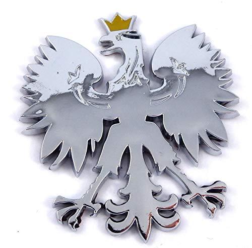 Poland 2.5' Polish Polski Eagle with Golden Crown Chrome 3D Emblem Decal Polska