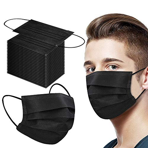 50 Pack Face Mask, Black Disposable Face Mask For Women Men, 3-Ply Breathable Adult Masks With Comfortable Earloops & Adjustable Metal Nose Strip
