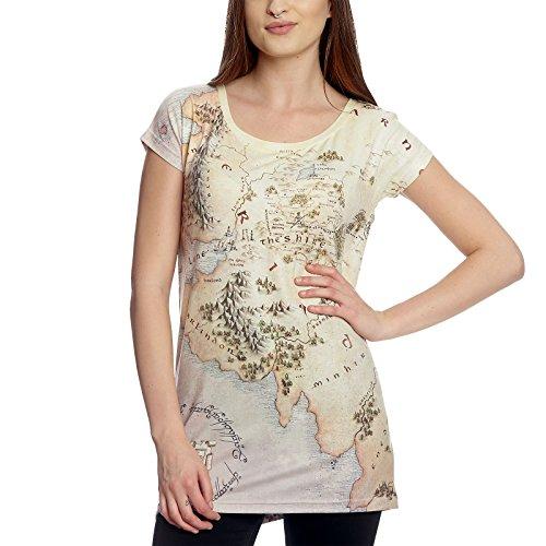 Herr der Ringe Girlie Shirt Mittelerde Karte Loose Fit Elbenwald beige - S