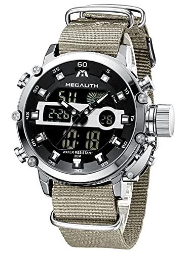 MEGALITH Relojes Hombre Digitales Militar Relojes Grandes LED Reloj de Pulsera Analogico Digital Deportivo Relojes de Hombre Cuero Impermeable Electrónico Cronometro Calendario - Caqui Plata