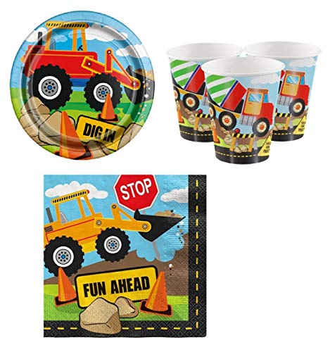 Fancy Me Boys Toddlers 32pc Tableware Set Cups Plates Napkins Construction Digger Builder Themed Birthday Party Tableware Decorations Accessories (Tableware Set)