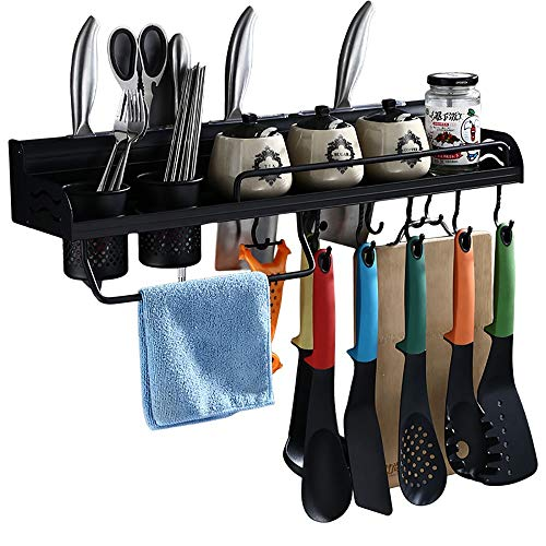 QLJJ Spice Racks Wall Shelves For Kitchen Kitchen Organizer And Removable Hooks For Organize Cooking Utensils Multi Use As Spice Rack Or Bathroom Shelf Spice Rack Kitchen Storage
