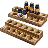 MyGift 2-Tier Rustic Burnt Wood 11-Bottle Essential Oil Display Stands, Set of 2