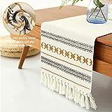 Sxuan Tischläufer 180x35cm, Waschbar Tischdekoration aus Baumwollgewebe mit Quasten für Esszimmer Outdoor Urlaub Party Dekoration, Beige - 5