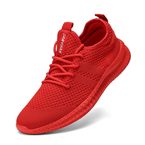 FUJEAK, scarpe da corsa da donna, scarpe da corsa, da corsa, da tennis, per il tempo libero, alla moda, leggere, traspiranti, Rosso (Colore: rosso), 38 EU