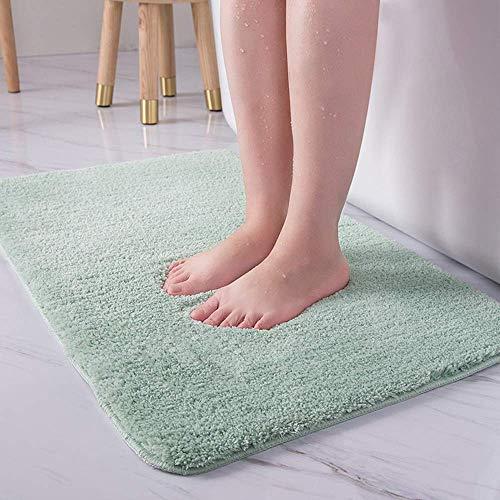 LiGG LiGG Badematte Anti Rutsch Badezimmerteppich Absorbent Badteppich Einfarbige Farbe Badvorleger Badematten Fußmatte (60 x 90 cm, Grün)