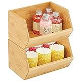 mDesign Gaveta apilable de madera – Caja organizadora multiusos para armarios de cocina, estanterías y superficies – Organizador de cocina abierto de bambú sostenible – Juego de 2 – color natural