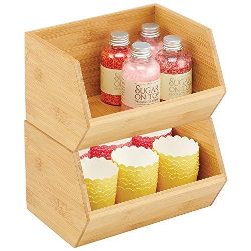 mDesign stapelbare Aufbewahrungsbox – multifunktionale Bambusbox für Küchenschränke, Regale & Oberflächen – offene Ablage aus nachhaltigem Bambus – 2er-Set – naturfarben