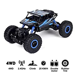 1/18 Scale Remote Control Rock Crawler, 2.4GHz 4WD Off-road RC Monster Truck Amazing crawling technology and strong shocks makes it easy to use on rugged roads or off road, and climbing over pebbles and large stones without effecting its performance....
