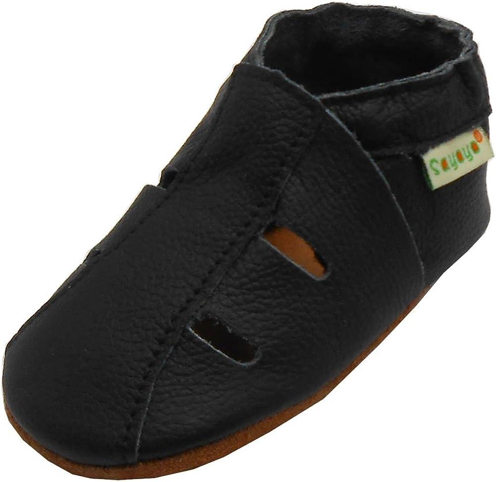 Sayoyo Baby Soft Sole Leather Infant Toddler Prewalker Black Shoes Sandal(0-6 months)