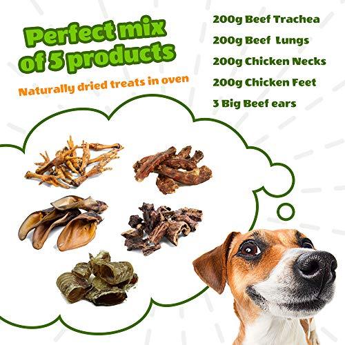 rinderlunge für hunde leckerli rinderohren getrocknet kaninchenohren rinderkopfhaut hühnerfüße huhn (5 Mix pack)