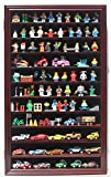 Display Case Wall Curio Cabinet for Building Toys Minifigures Miniature Figures (Mahogany Finish)