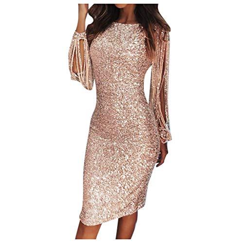 Lulupi Damen Kleider Glitzer Abendkleider Lange Ärmel Fransen Paillettenkleid Knielang Glänzend Partykleid Elegant Hochzeit Club Cocktailkleid