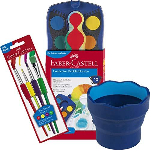Faber-Castell 125030 - Farbkasten Connector mit 12 Farben, inklusive Deckweiß (3, Komplett-Set Jungen)