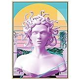 Pintura en lienzo Escultura de Medusa Pintura en lienzo Póster Impresión de grafiti Imagen de Medusa Arte de la pared Decoración de la cubierta Sin marco 50x70cm / 19.6 'x27.5' (NoFrame)