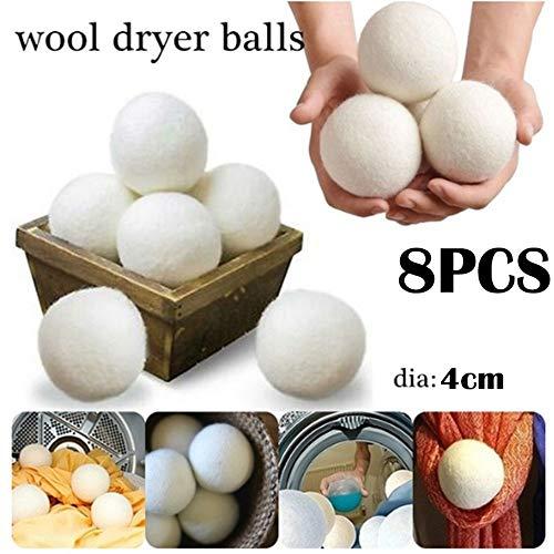 Julymall - 8 bolas de lana blanca para secadora, orgánicas, reutilizables, naturales, suavizante de tela, 10 cm