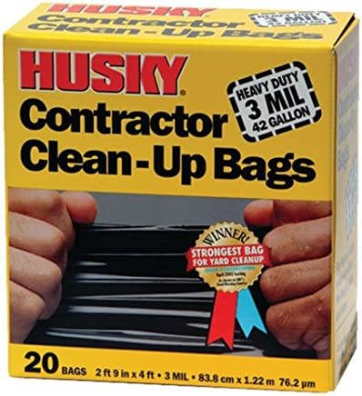 Poly America Husky HK42WC020B 42-Gallon Contractor Clean-Up Bags, 20-Count