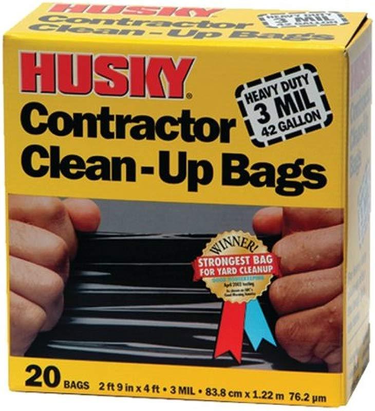 Husky HK42WC020B 42 Gallon Polyethylene Resin Contractor Clean Up Bags 20 Count 4 Ft L X 2 Ft 9 In W X 3 Mil T Black