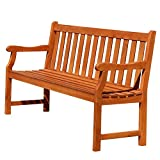 Vifah V023-1 Baltic Garden Bench, Red-Brown