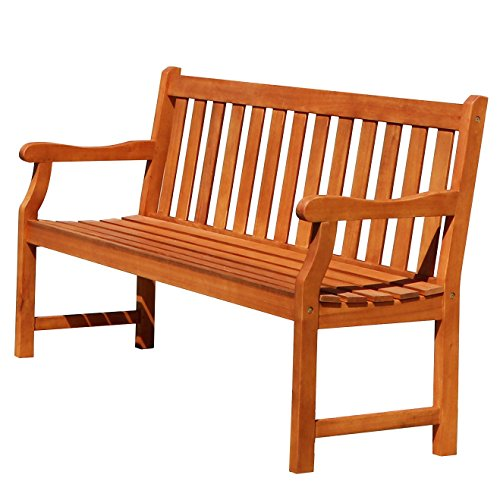 Vifah Atlantic Red Brown 5Ft Slatted Eucalyptus Wooden Garden Bench for 3 Seater in Entry Way,...