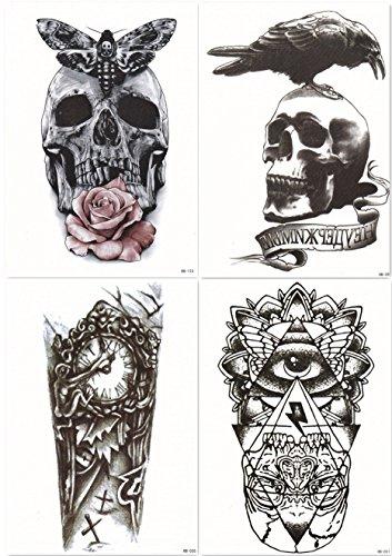 Dalin 4 Sheets Temporary Tattoos, Skull, Rose, Clock, God's Eye