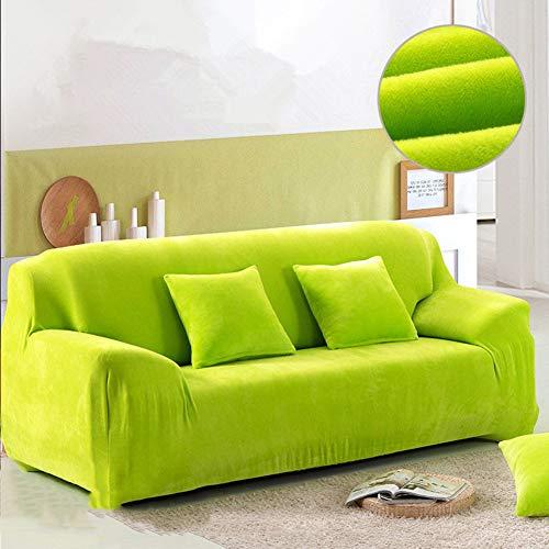 JiaQi Felpa Stretch Protector para sofás,Universal Cubiertas del sofá,Espesar Sofá Espuma Anti-mite Protector de Mascota Perro Gato Guardapolvo-Verde Funda de Almohada + Almohada 45x45cm(18x18inch)