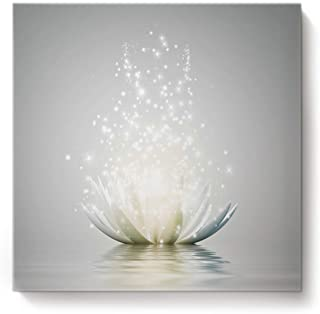 Canvas Wall Art Square Artworks for Bedroom Living Room Home Decor,Art Lotus Flower Pattern White Artwork for Wall,Stretched by Wooden Frame,Ready to Hang,16 x 16 Inch