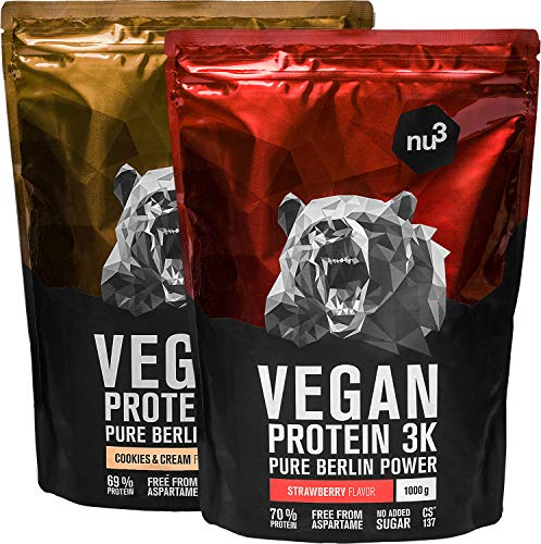 nu3 Vegan Protein 3K - 1 Kg Cookies + 1 Kg Erdbeere Blend - veganes Proteinpulver aus 3 Komponenten Protein mit 70% Eiweiß - leckerer Strawberry & Cookies Cream Geschmack - Proteinshake Laktosefrei