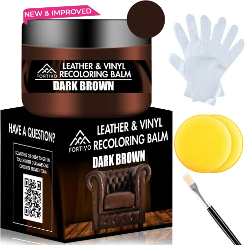 Dark Brown Leather Recoloring Balm - Leather Repair Kits for Couches - Leather Restorer for Couches Brown Car Seat, Boots - Cream Leather Repair for Upholstery - Dark Brown Leather Dye