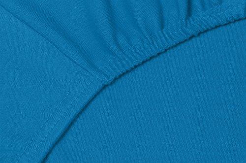 Double Jersey – Spannbettlaken 100% Baumwolle Jersey-Stretch bettlaken, Ultra Weich und Bügelfrei mit bis zu 30cm Stehghöhe, 160x200x30 Petrol - 5