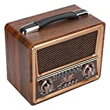 T osuny AM FM SW Radio Portable, Battery Operated Radio, 3‑Band Pure Wooden Box Professional Radio, Portable Wooden Wireless Bluetooth Speaker Rechargeable(110V)
