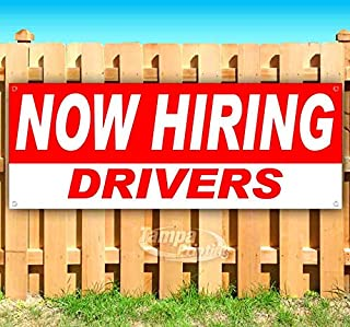 Now Hiring Drivers 13 oz Heavy Duty Vinyl Banner Sign with Metal Grommets, New, Store, Advertising, Flag, (Many Sizes Available)