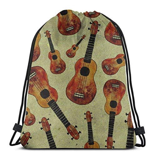 XCNGG Watercolor Ukulele Music Unisex Drawstring Backpack Bag, Polyester Cinch Sack, Waterproof Sport Gym Bag Casual Daypack for Women Men