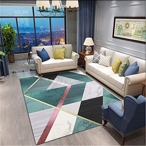 Kunsen Teppich auslegware Grün-Grauer Teppich rechteckige Moderne Wohnzimmerbuch-Raumdekoration Kinder Zimmer Teppich terrassendeko 60x90cm 1ft 11.6' X2ft 11.4'