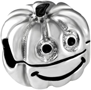 Quiges 925 Sterling Silver 3D Smiley Halloween Pumpkin Clip Lock Stopper Bead Charm