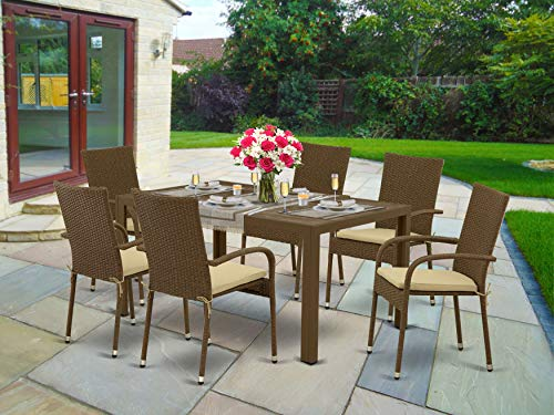 East West Furniture JUGU702A 7Pc Outdoor Brown Wicker Dining Set Includes a Patio Table and 6 Balcony Backyard Armchair with Linen Fabric Cushion