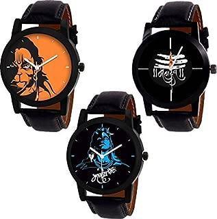 New Raiyaraj Embroidery Black Leather Lord Shiva Hanuman Men's Combo of 3 Watches