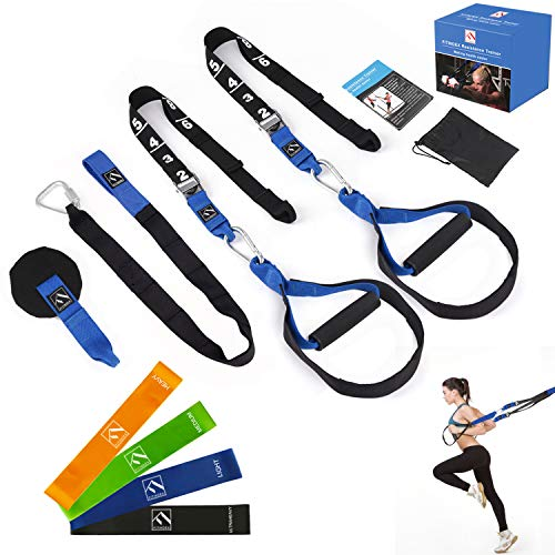 Image of the FITINDEX Bodyweight Resistance Trainer Kit, Home Suspension Training Straps, Fitness Resistance Trainer with Anchor Point and Resistance Loop Bands, Full Body Workout for Indoor or Outdoor Gym