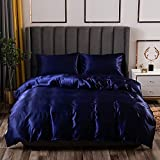 Glamorous Royal Blue Silk Like Duvet Cover Set 3 Pieces Soft Microfiber Bedding Set Queen,Solid Color Satin Silky Comforter Cover Wrinkle and Hypoallergenic Quilt Cover (Without Comforter) GB24-RB-Q