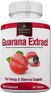 Guarana Extract: All Natural Herbal Energy Supplement for Women, Men: 200mg Caffeine - 90 Tablet Capsule Pills Tannins, Gu...