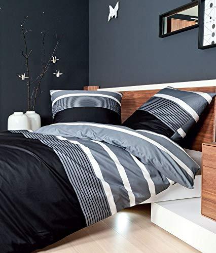 Janine Mako-Satin Bettwäsche J. D. 8468 Bettwäsche Bettlaken Kissenbezug Bezug Kopfkissenbezug Bettbezug Baumwollbezug Baumwolbettwäsche Schlafzimmer schwarz-Silber 155x220+40x80