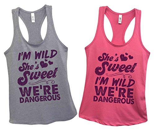 Funny Best Friends Tank Top Sets I'm Wild Shes Sweet - Royaltee Shirt Set Medium/Large, Grey/Pink