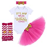 It's My 1/2 / 1st / 2nd Birthday Outfit Baby Girls Romper + Ruffle Tulle Skirt + Sequins Bow Headband + Leg Warmers Socks Party Dress up 4Pcs Photo Cake Smash Clothes Set Hot Pink 1 Year