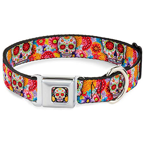 Dog Collar Seatbelt Buckle Sugar Skull Starburst White Multi Color 15 to 26 Inches 1.0 Inch Wide