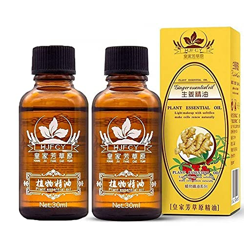 2 Pack Ginger Oil for Lymphatic Drainage,Vamotto Massage Essential Oil, Natural Body Massage Ginger Oil for Swelling,Skin and Relieve Muscle Soreness 30ML