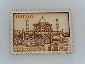 White Artisans India Collage Stamp Wood Carved Magnet