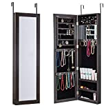 HERRON Wall Jewelry Cabinet Armoire with Mirror, Door or Wall Mounted Jewelry Box to Store jewelry for Women (BLACK)