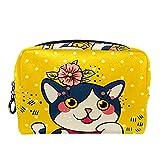 Bolsa de cosméticos para Mujeres Feliz Folklore japonés Gato florecido Bolsas de Maquillaje espaciosas Neceser de Viaje Organizador de Accesorios